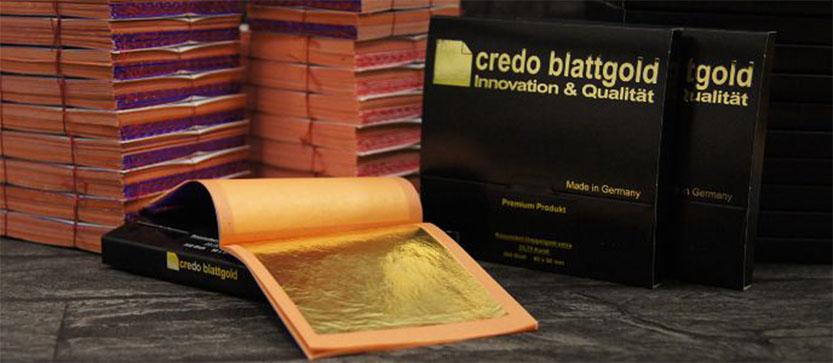 Echtes Blattgold Wir bieten Ihnen hochwertiges Blattgold aus deutscher Produktion für jede Art der Vergoldung.  Modernste Technologie und Produktionsmethoden widerspiegeln sich in der Qualität von credo...